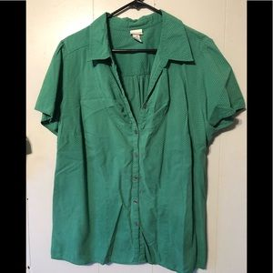 Venezia green short sleeve button shirt